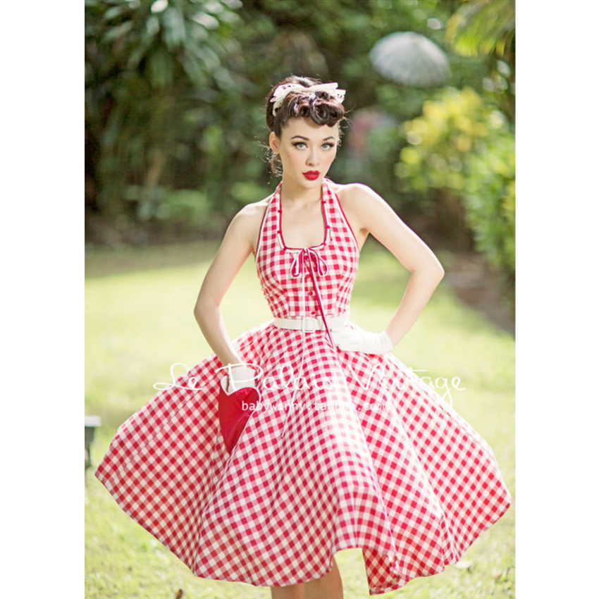 FREE SHIPPING Le Palais Vintage Retro Red Plaid heart pocket Halter thin Halter large swing dressОдежда и ак�е��уары<br><br><br>Aliexpress