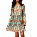 Trendy Women Spring Dress O neck Print Long Sleeve Loose Vintage Tunic Dresses vestidos