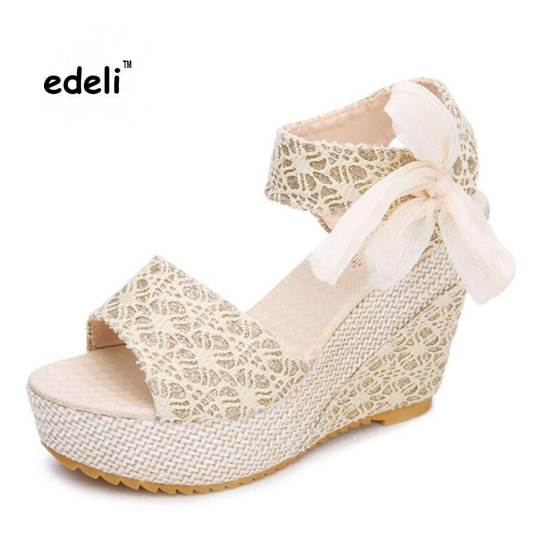 Women Sandals 2016 New Wedges Sandals Female Shoes Women Platform Shoes Lace Belt Bow Open Toe High-Heeled Shoes Sandalias Mujer<br><br>Aliexpress