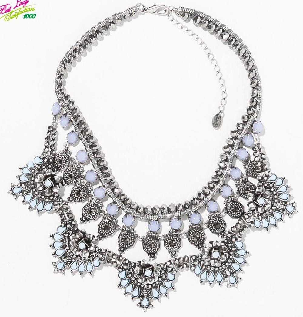 2014 New Trendy Designer Crystal Pendant Necklace Sweater Chain Statement Luxury Party Jewelry Za Brand Necklace