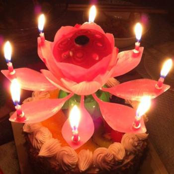Новые музыкальные спин цветок ну вечеринку подарка вращающегося спарклер торт топпер день рождения свечи красивая музыка цвести цветок лотоса свечи