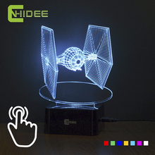 Creative Gifts Star Wars Tie Fighter Lamp 3D Deco Vision Desk Lampara Led USB 7 Colors Changing Baby Sleeping Night Light(China (Mainland))