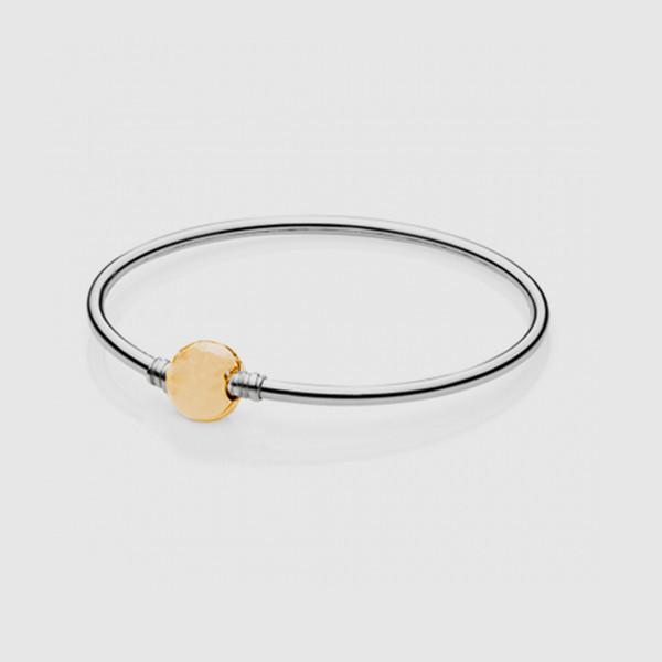 Новый S925 стерлингового серебра ювелирные изделия браслет с круглый позолоченный застежка баррель изящных ювелирных изделий для мода DIY подвески