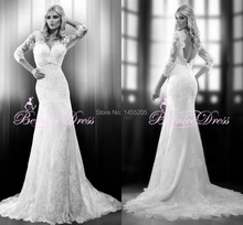 Fashionable V-neck Three Quarter Sleeves Court Train Lace Wedding Dress Vestido De Novia Backless Weding Dress Bridal Gowns 2014(China (Mainland))