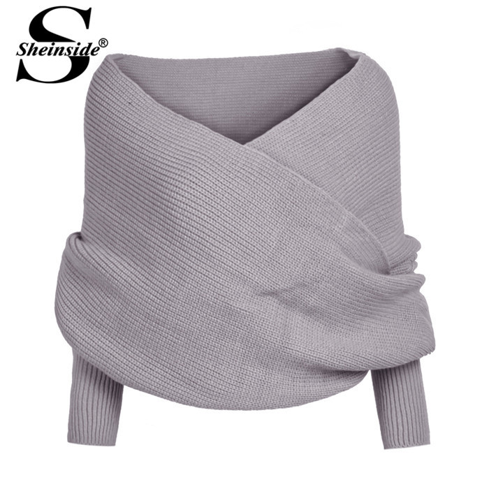Sheinside Autumn 2015 Women Fashion Jumper Brand Grey Off the Shoulder Batwing Sleeve Knit Sweater Casual Knitted Crop Cardigan(China (Mainland))