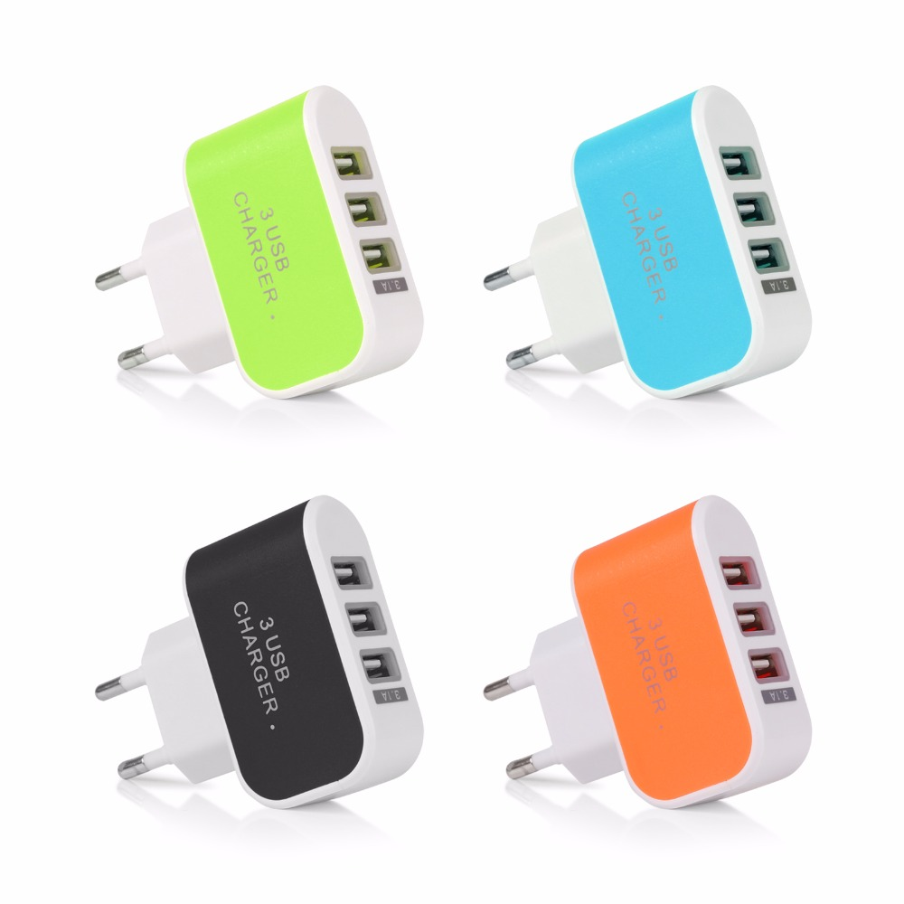 3 USB Port Micro USB Charger Charging Adapter HUB EU US Plug For Samsung Charger For iPhone 6 6s Plus 5s and All Smart Phone(China (Mainland))