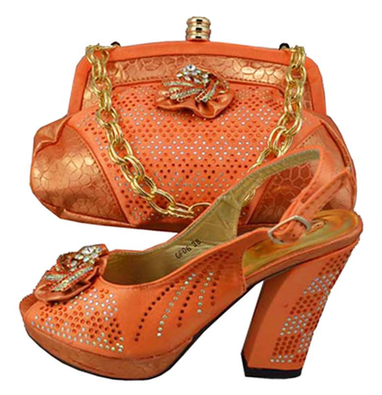 GF06D Orange Color!!Evening Dress High Heeled Bridal Shoe And Bagladies Office Dress Women ...