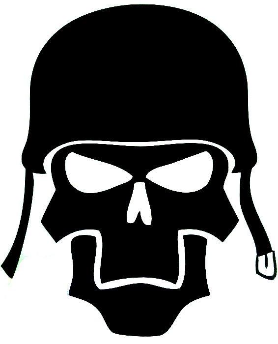 Car decals Skull soldier 13.5cm x 11.3cm car motorcycle vinyl waterproof outdoor stickers(China (Mainland))