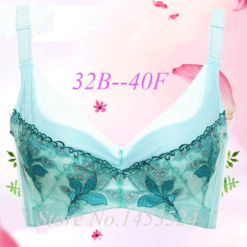 New C D E F 75 80 85 90 Ultrathin Brand Lace Bra Lingerie Minimizer Big Size Bra Underwear Women Sexy Bra Push Up Peacock Blue(China (Mainland))