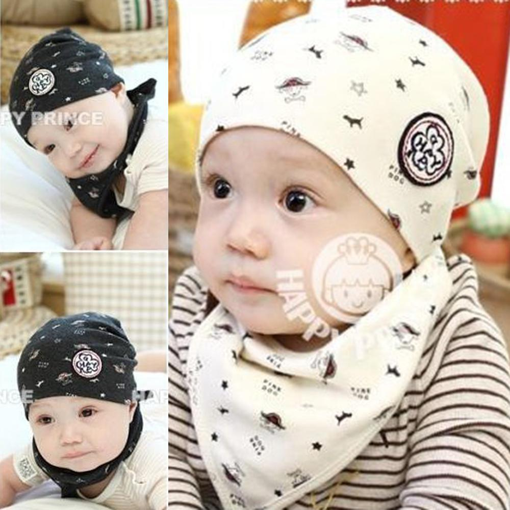 Newborn Baby Girl Boy Kids Bandana Bibs+Hat Saliva Towel Triangle Head Scarf()
