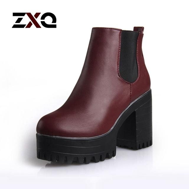 Сапоги новинка женщин квадратный каблук платформы лодыжки искусственная кожа насос высокого мото-обувь горячая распродажа