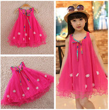 Baby Girls Princess Pleated Chiffon Summer dress Kids Lovely Dresses sleeveless child's clothes 2-7Y