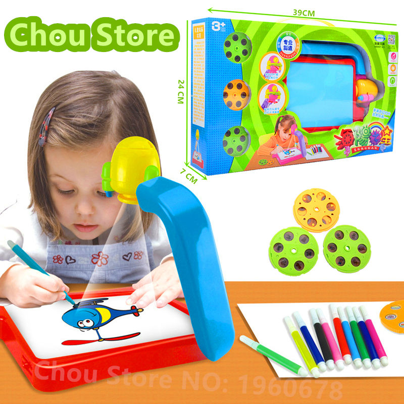 New Drawing Board Electronic Kids Toy Projector Light Glow Sketchpad Films Water Painting Pens Booklet Toys For Children Gift(China (Mainland))