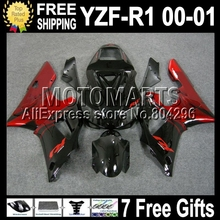 Red flames black +7giftsFor YAMAYA YZF-R1 YZF-1000 00-01 YZF R1 1000 C#99814 YZFR1 red YZF1000 00 01 2000 2001 Fairing Kit - Motomarts store