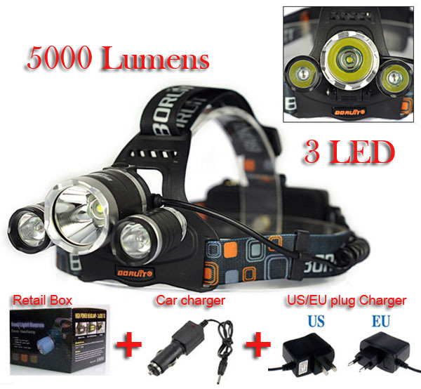 Linterna frontal LED Headlamp 5000 Lumens Head lamp T6 3 LED Headlight head torch edc flashlight 18650 Rechargeable battery pack(China (Mainland))