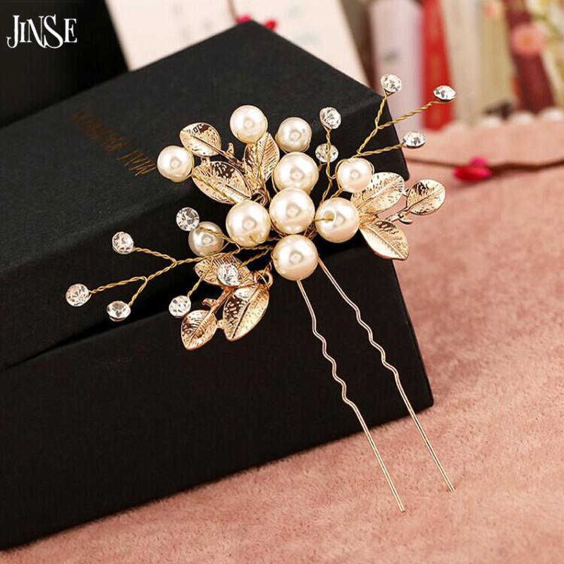 JINSE Luxurious Bridal Hair Comb Golden Leaf Women Pearl Hair Jewelry Rhinestone Hair Ornaments Bride Wedding Accessories HBS012(China (Mainland))