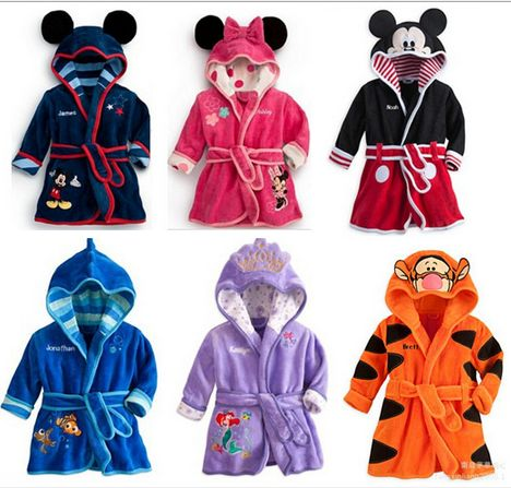Hot Selling 2015 Spring Autumn Children s Pajamas Robe kids Casual Cute Bathrobes Baby homewear Boys