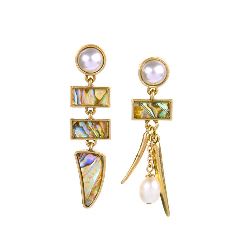 2016 Free Shipping Stylish Asymmetric Shell Dangle Earring Beach Earring pierced earring Good Quality (Min $20 can mix)(China (Mainland))