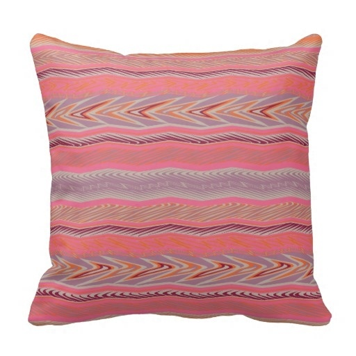 Ugly Girly Pink Orange Bohemian Style Aztec Pattern Pillow Case (Size: 20