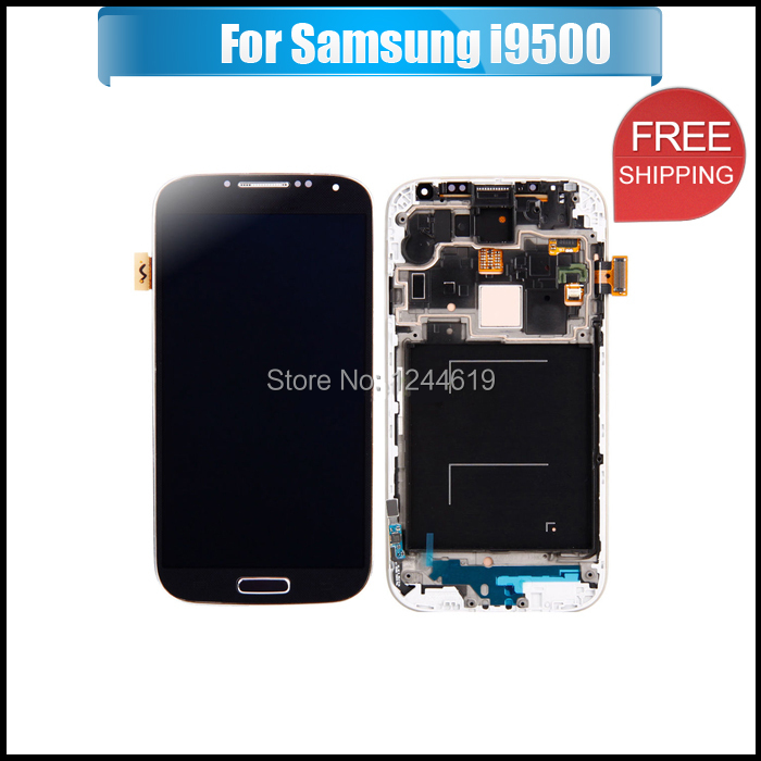 Free Shipping Original For Samsung Galaxy S4 i9500 LCD Display Touch Screen Digitizer with Frame Assembly Black with Logo(China (Mainland))