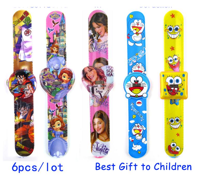 6pcs/lot Violetta Doraemon Dragon Ball Rabbit Hose Animal Kids Digital Children Cartoon Slap Watch for Gift party or Birthday(China (Mainland))
