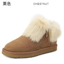 INOE moda genuino cuero de piel de oveja suede mujeres real de piel de conejo de invierno corto botas de nieve del tobillo para niñas cremallera zapatos de invierno(China (Mainland))