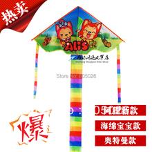 Free shipping hot sell alis kite 20 pcs/lot child cheap kite flying toys nylon ripstop kite with handle line wei kite elf(China (Mainland))