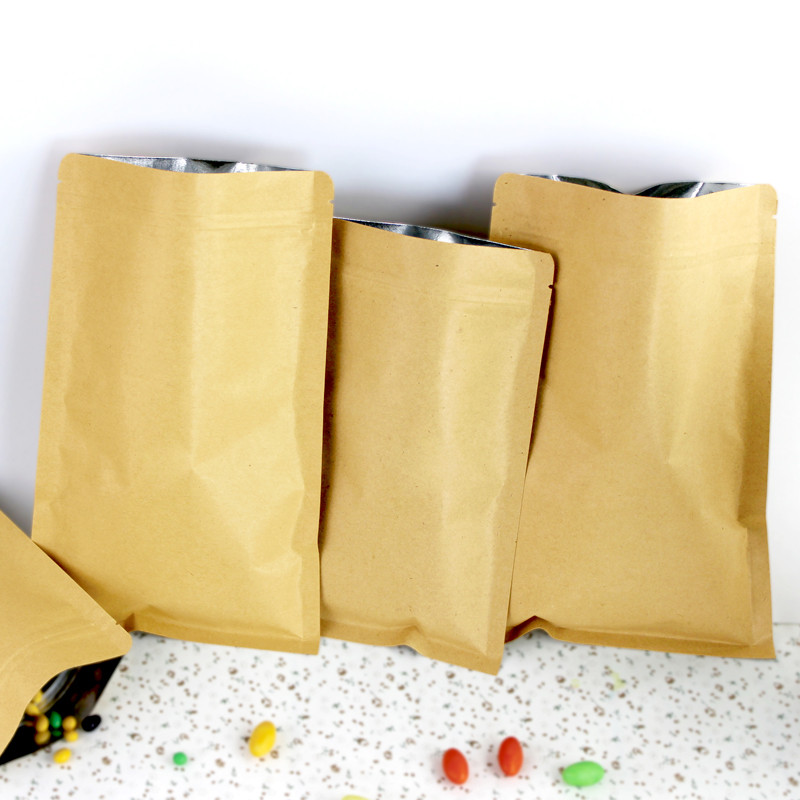 15*21cm Resealable Brown Kraft Paper Bags For Party Packaging Bag Zipper Ziplock Aluminum Foil Pack Pouch For Food Coffee Tea(China (Mainland))