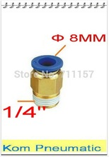 "Pc 08-1 / 4 macho conector recto para 8 mm tubo Push In 1/4 "" rosca aire neumático de montaje rápido conector PC8-02(China (Mainland))"
