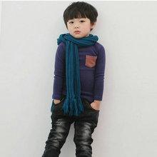 Zehui стиль 2 - 7 у малышей с длинным рукавом футболка карманный декор мальчики девочки топ одежду(China (Mainland))