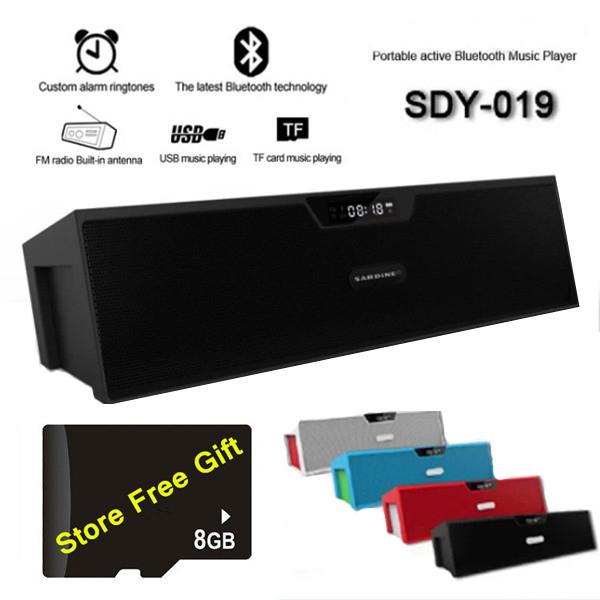 Sardine SDY-019 HIFI Wireless Bluetooth Speaker FM.LED.Alarm Clock.Time.Mic.TF Card.10W.1200mah,8GB Micro SD Card Free Gift(China (Mainland))