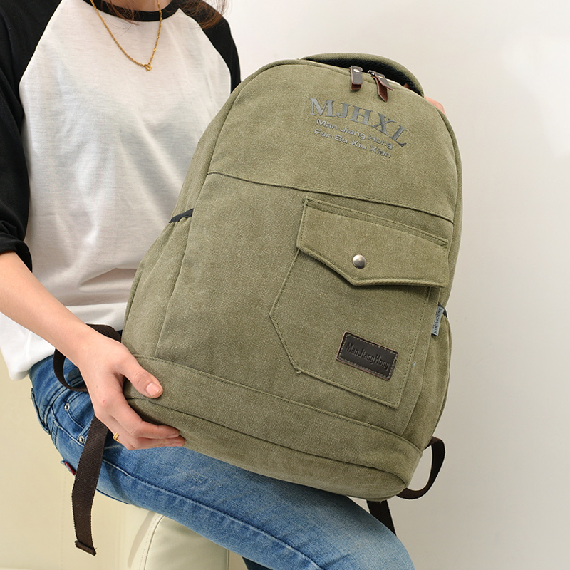 Fashion Canvas Backpack For Men Solid Preppy Style Soft Back Pack Big Capacity School Satchels Mochila MJH1160(China (Mainland))