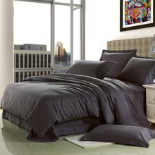 Brief Home Textile 100% cotton Sanding dark grey Solid wedding bedding set Europe designer 4pcs bed sheet/duvet cover king queen(China (Mainland))