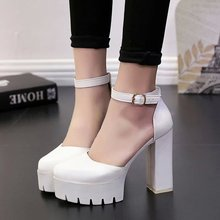 2015 spring and autumn fashion high heeled shoes 12cm strap hasp round toe platform thick heel