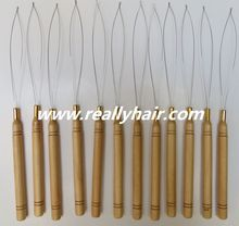 12pcs/Lot ,Wooden Handle Pulling Loop Needle Hair Extensions,Hair Extension Tools