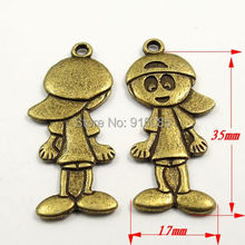 20pcs Antique Style Bronze Color Alloy Lovely Boy Charm Pendant Metal Accessories 35*17*2mm  31639(China (Mainland))