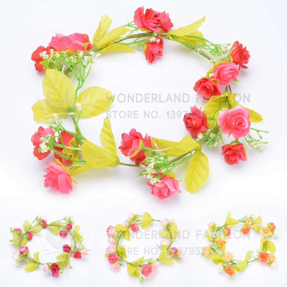 Polyester Rose Bow Flower Floral with Green Leaf Garland Summer Collection Hair Accessories for Women Ladies Girls Children Kids(China (Mainland))