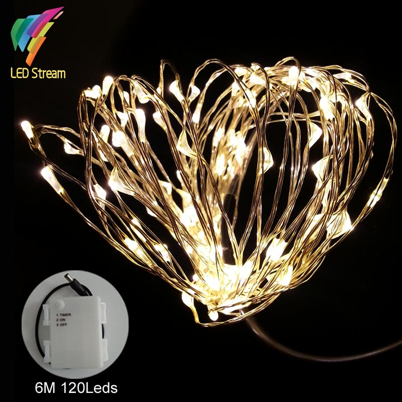 6M 120 leds String Light Outdoor waterproof TIMER 20 FT Silver wire LED String 3AA Batteries Fairy String Lights(China (Mainland))