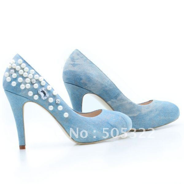 XPS183 Free shipping custom made fashion blue jean pearls beaded ladies high heel party shoes 2014