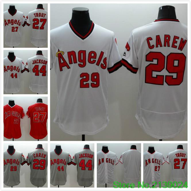 #27 Mike Trout #29 Rod Carew #44 Reggie Jackson jersey 2016 New All Stitched(China (Mainland))