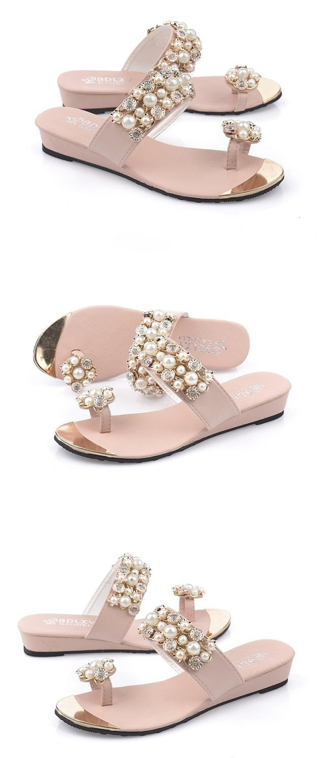 Size 4~8 Pink Summer Sandals Slides Women Shoes Beading Lavender Women Flats Shoes sandalias mujer (Check Foot Length)