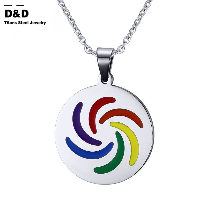 New Rainbow Round Pendants& Necklaces Stainless Steel Gay Pride Pendants Jewelry Hot Sale Pendants for Women and Men PPN-034(China (Mainland))