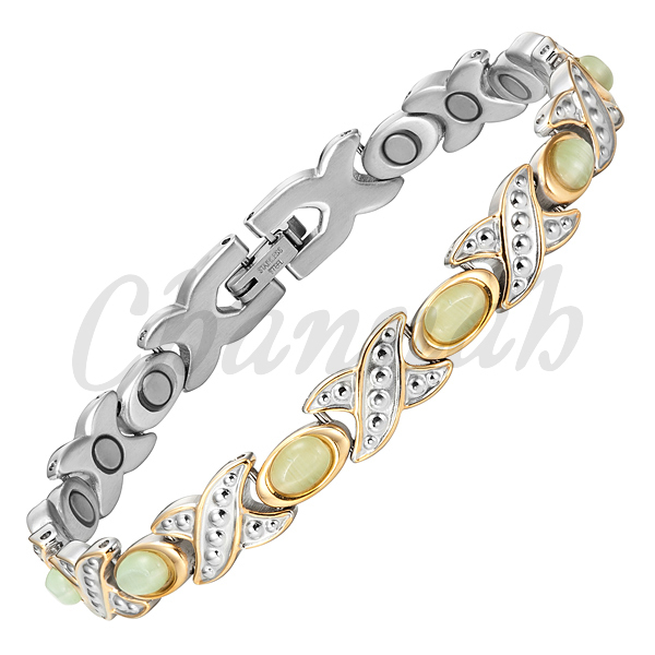 2015 Ladies 19pcs Magnets Silver 18K Gold Stainless Steel Bracelet Women Stones Jewelry Bangle Free Shipping via Hong Kong Post(China (Mainland))