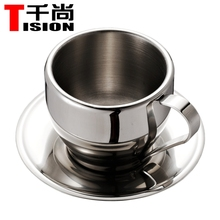 TISION 250ml Double wall stainless steel coffee cups and mugs espresso cup set tea cup and saucer(China (Mainland))