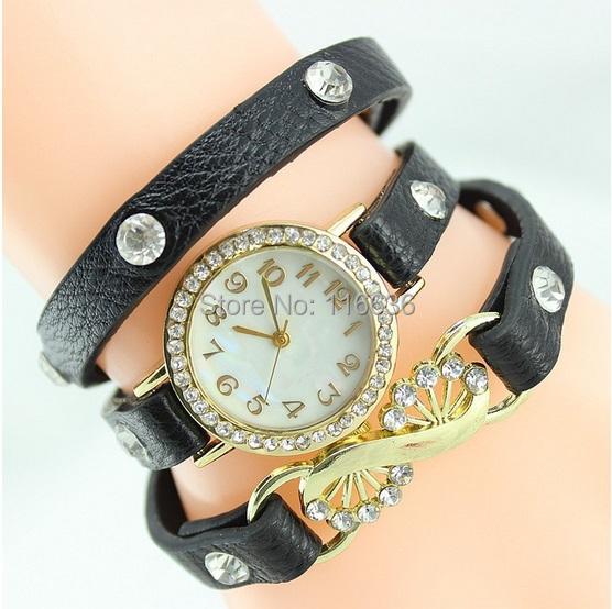 10pcs lot NEW Fashion wristwatch Wrap Charm Crystal Ribbon Rhinestone Watch PU leather Strip Bracelet Watch women wholesale<br><br>Aliexpress