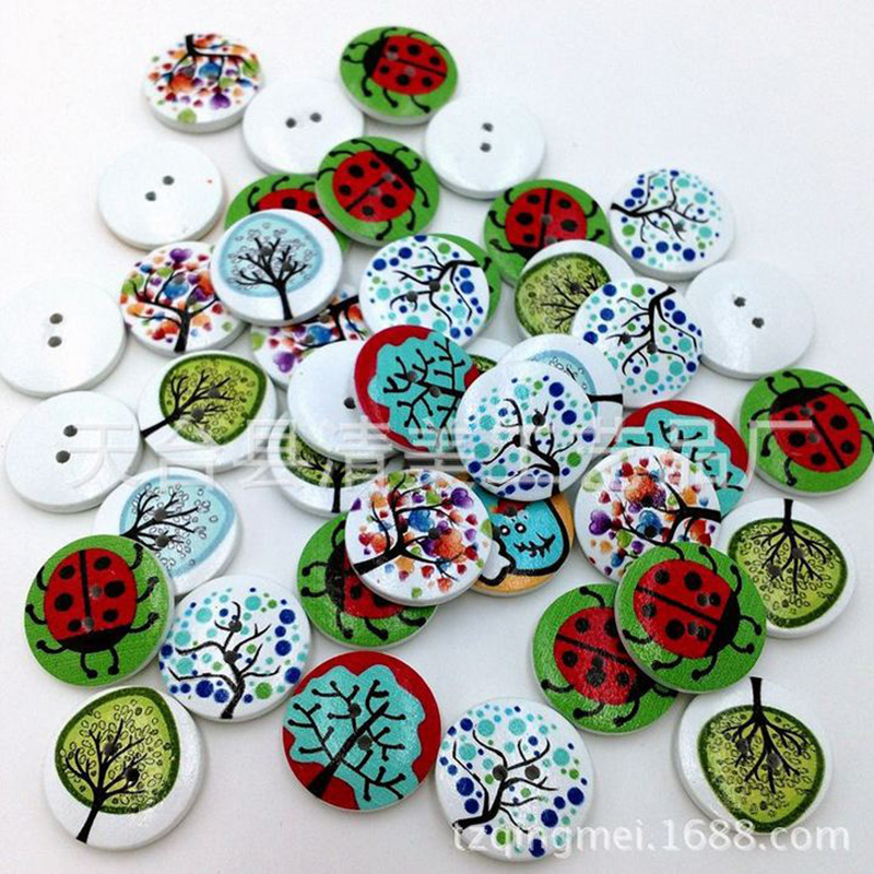 Hot 50pcs/lot Home crafts fashion White printing Idyllic forest system Button apparel sewing Two holes 5zcx208(China (Mainland))
