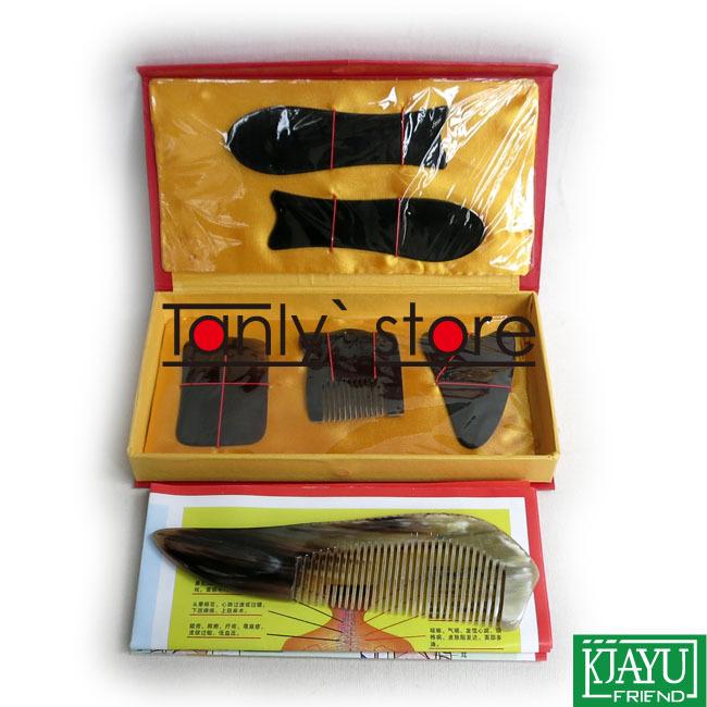 100% ox horn! Traditional Acupuncture Massager tool gift box Gua Sha beauty kit 5pcs/set +1pcs guasha chart +1pcs big comb(China (Mainland))