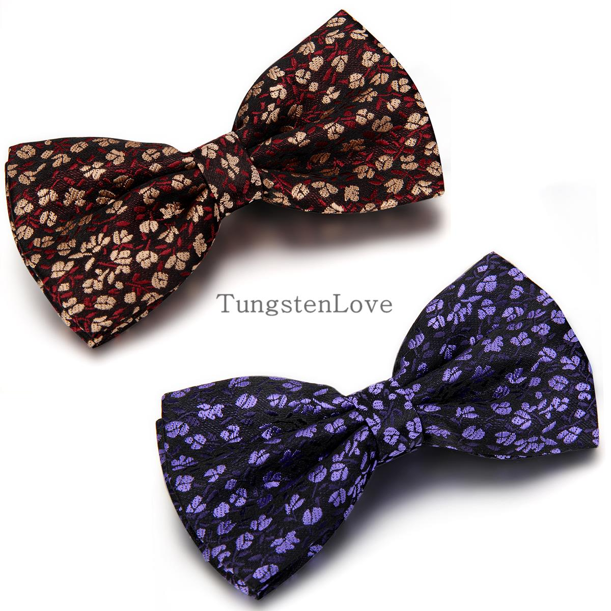 Red Gold Purple Brand New Men fashion Floral adjustable woven Polyester Commercial Tuxedo Neck bowtie mens Bow tie butterfly(China (Mainland))