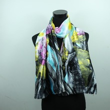 Floral Flower Women Fashion Satin Oil Painting Long Wrap Shawl Beach Silk Scarf 160X50cm style 1-20(China (Mainland))