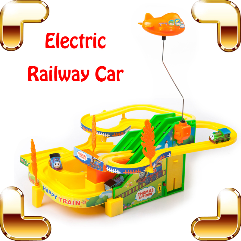 New Year Gift Electric Railway Train Car Children Funny Toy Game Kids Race Track Cars Rail Vehicle Boys Present Tracing Train(China (Mainland))